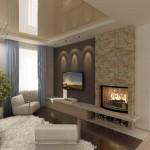 дизайн гостиной с камином фото 4