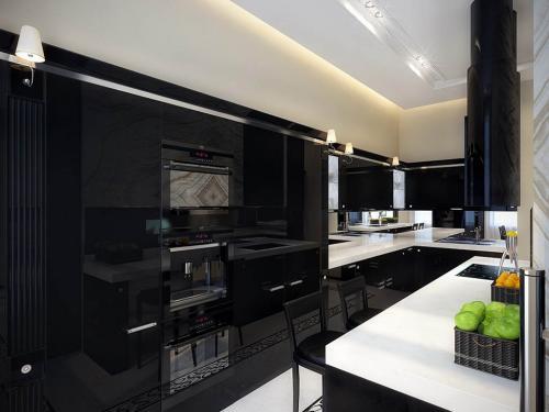 black-kitchen-with-white-countertop
