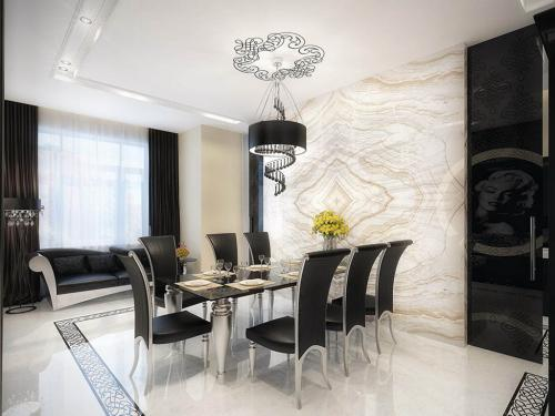 white-marble-dining-room-with-black-furniture