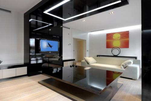 KITCHEN-INTERIOR-DECORATION-MODERN-THEATER-WITH-DESIGN-WHITE-BLACK-WALL-WOOD-FLOOR-AND-BE-EQUIPPED-MOUNTED-TELEVISION-BLACK-GLASS-TABLE-WHITE-SOFA-WONDERFUL-MODERN-HOME-BAR-TOP-IDEAS-WITH-AMAZING-FUR
